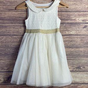 Children's Place white sparkle gold fancy dress